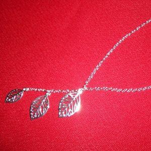 Sterling Silver Leaf Drop Necklace